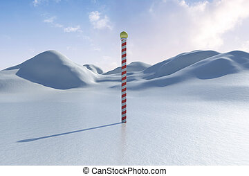 Snowy land scape with pole - Digitally generated Snowy...