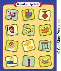 Hanukkah Symbols - Colorful set of twelve Hanukkah symbols...