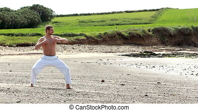 Fit shirtless man practicing martial arts on the beach