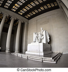 Lincoln Memorial - Statue of Abraham Lincoln at the Lincoln...