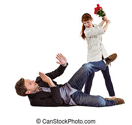 Woman throwing roses at man on white background