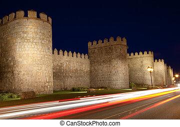 Avila tonight, Castilla y Leon (Spain)