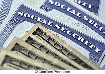 Social Security Cards and Cash Money - Detail of several...