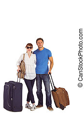 Happy couple going on holiday on white background