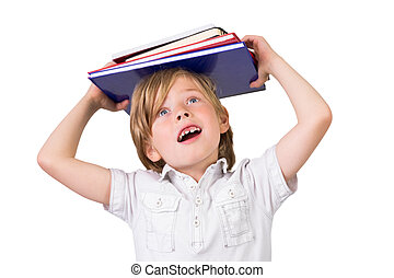 Student balancing books on his head on white background