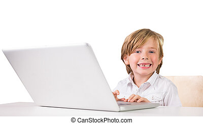 Student using a laptop pc on white background