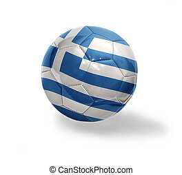 Greek Football - Football ball with the national flag of...