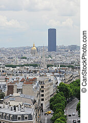 Montparnasse Tower in Paris with a Cloudy Sky
