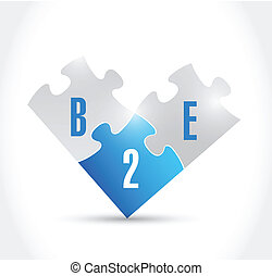b2e puzzle pieces illustration design over a white...