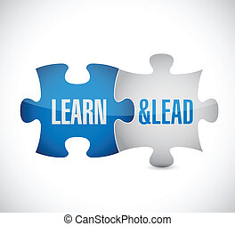 learn and lead puzzle pieces illustration design over a...