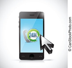 24 7 phone support illustration design