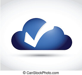 cloud check mark illustration design over a white background