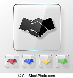 Hands shake icon on a transparent glossy square. Agreement...