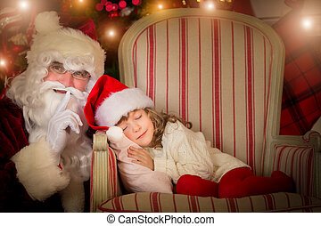 Christmas - Santa Claus and happy kid Children dream...
