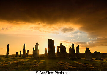 Callanish sunset - Megalithic stone circle of 3000 bc on the...
