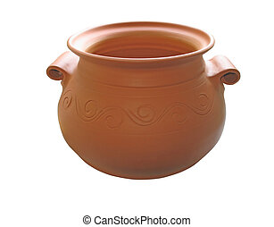 Ceramic clay pot isolated on white background