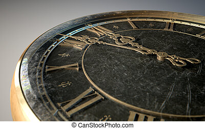 Macro Antique Watch Midnight - An extreme closeup of a...