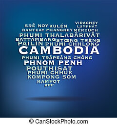 Cambodia map concept - Cambodia map made with name of cities...