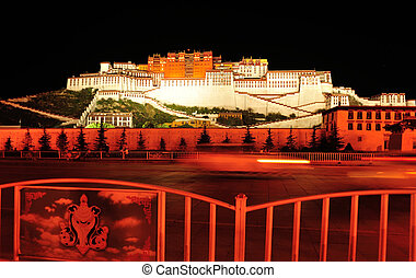 night scene of potala palace, tibet ,china