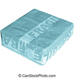 Fragile corrugated cardboard packet isolated on white - cool...