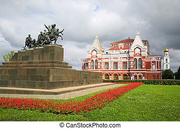 Chapaev monument and theater in Samara - Chapaev monument...