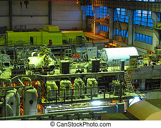 steam turbine, machinery, pipes, tubes, night scene at a...