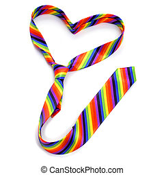 gay love - a rainbow tie forming a heart, depicting the...