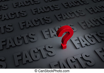 """Questioning The Facts - A red """"?"""" stands out in a dark..."""