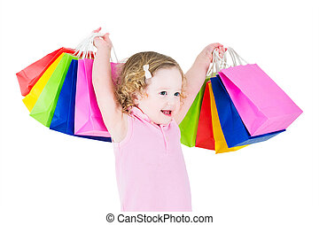Adorable girl after sale shopping - Adorable little girl...