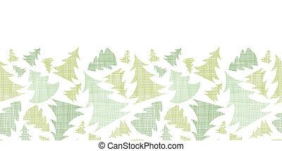 Green Christmas trees silhouettes textile horizontal border...