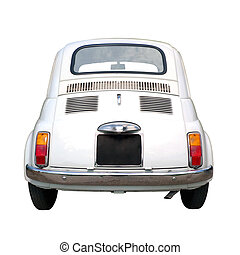 Old little car - 60s vintage italian car isolated on white...
