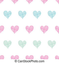 Colorful polka dot textile hearts seamless pattern background