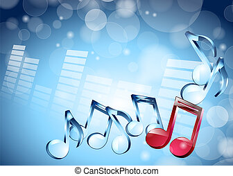 3D musical notes on shiny blue background - vector...