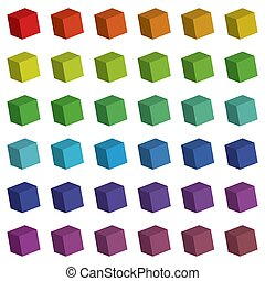 Illustration of 3d cubes in various colours