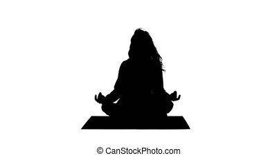 Fit woman doing yoga silhouette on white background