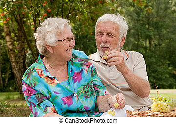 Do you want some fruit - Elderly couple enjoying the spring...