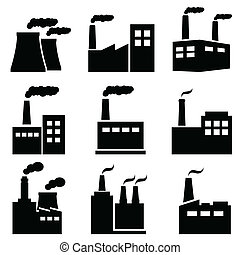 Factory, power plant industrial icons - Factory, power...