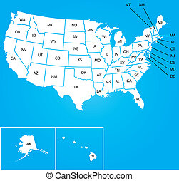 Illustration of Map of the USA with name of each states - An...