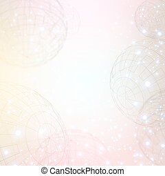 Abstract background with wireframe sphere, sparks and space...