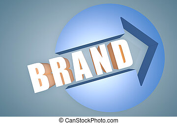 Brand - 3d text render illustration concept with a arrow in...