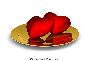 red hearts on golden plate