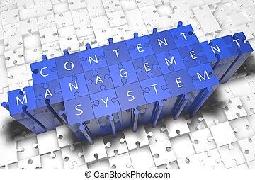 Content Management System - puzzle 3d render illustration...