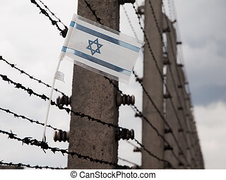 Flag of Israel in the fence of concentration camp - Small...