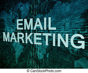 Email Marketing text concept on green digital world map...
