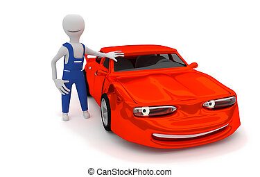 auto repair - cartoon smiling car with automechanic - 3D...