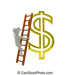 white business man climbs the ladder to gold dollar symbol -...