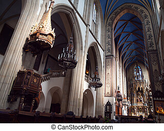Interior of Dominican Church of Holy Trinity in Krakow...