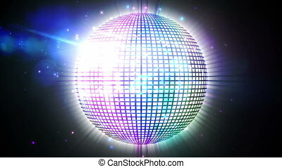 Shiny disco ball spinning - Digital animation of Shiny disco...
