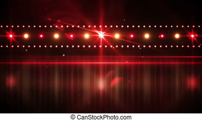 Red lights shining on black - Digital animation of Red...