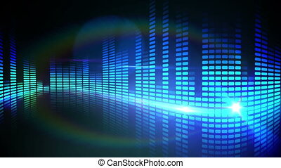 Blue pixel design of music volume - Digital animation of...